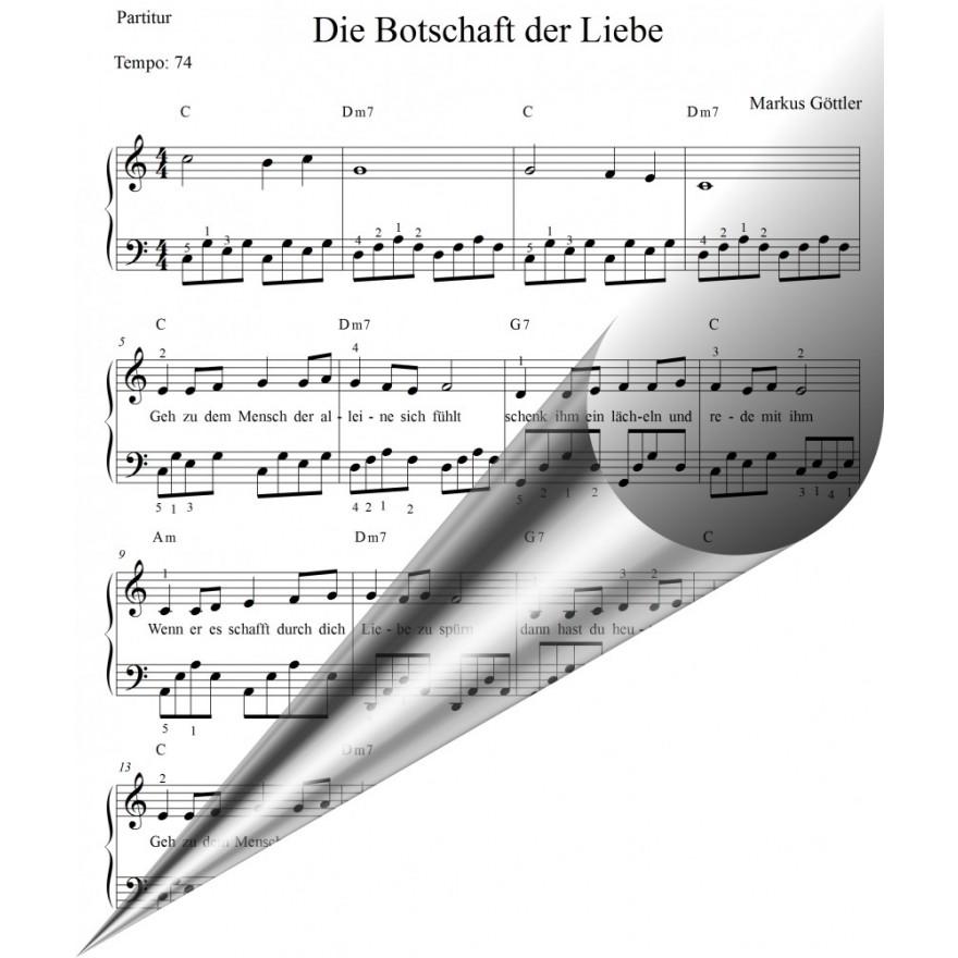 Klaviernoten Weihnachtslied - Die Botschaft der Liebe